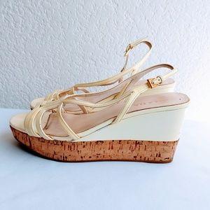 Prada Patent Leather Wedge Sandal Size 8.5